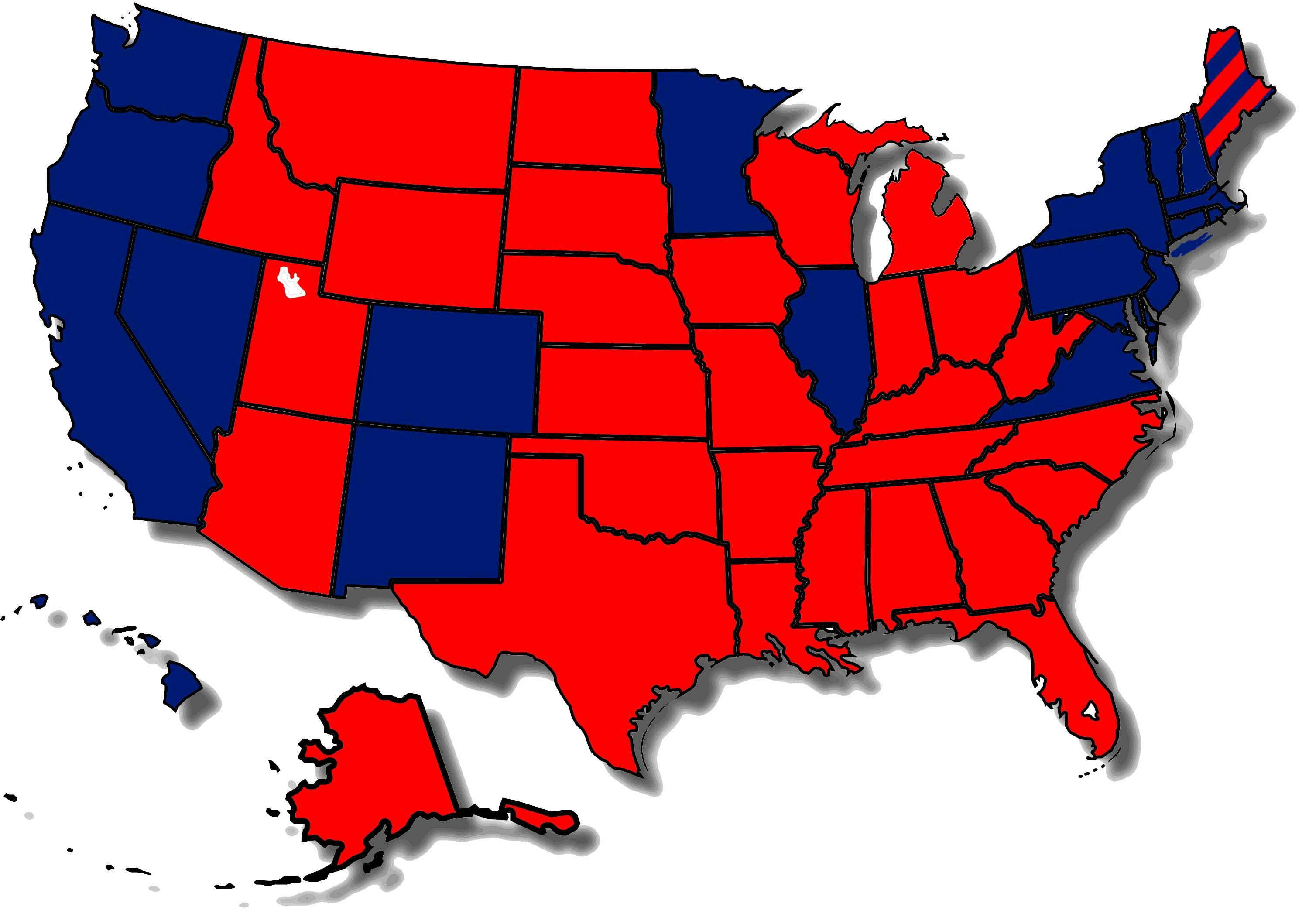 Map of how states voted in the 2016 election