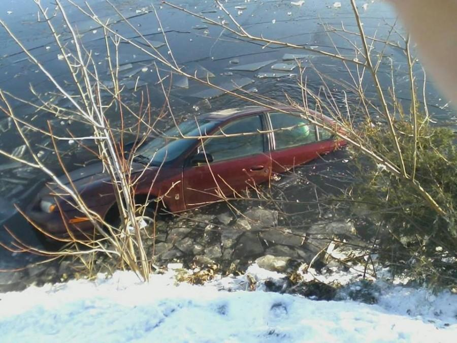 Hannah Johnson (10) experienced the dangers of icy roads first-hand when her car went into Fountain Lake on her way to school. Johnson was safe.