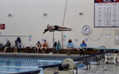 Junior Jenna Steffl performs a back somersault with one and a half twists at a diving meet. Steffl finished the regular season with a record of 8-0 and has already set high goals for her senior season.